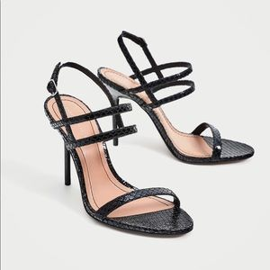 ZARA Embossed Strappy Heels - NWT